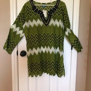 NWT size L Green and Black swimsuit cover-up